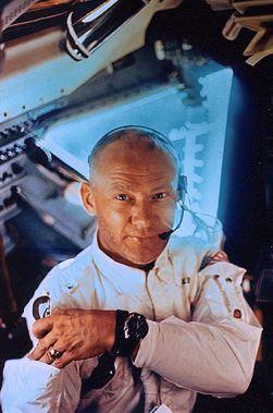 Buzz Aldrin en route to the moon