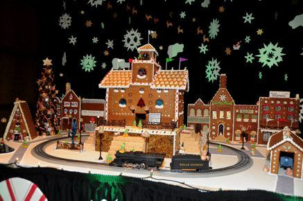 A gingerbread village