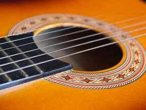 Closeup on an acoustic guitar