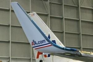 American Airlines logo painted on a winglet