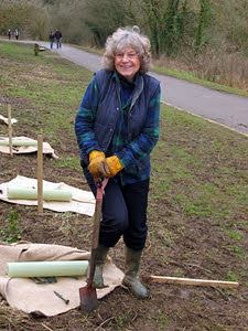 Sue Coppard Planting Trees - photo courtesy WWOOF